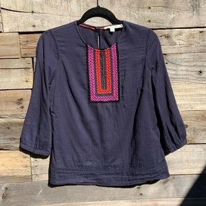 🌻Boden Navy Blue Cotton Peasant Blouse with Embroidered Bib Size 6 (US)